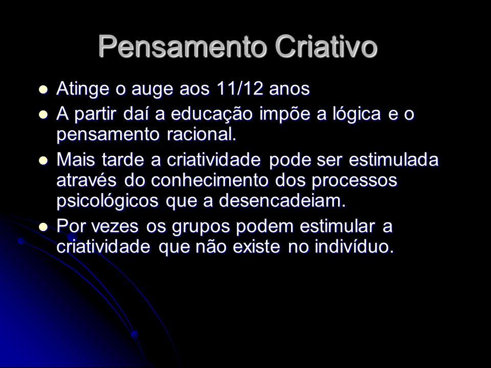 Pensamento Criativo Atinge o auge aos 11/12 anos Atinge o auge aos 11/12 anos A partir daí a educação impõe a lógica e o pensamento racional. A partir