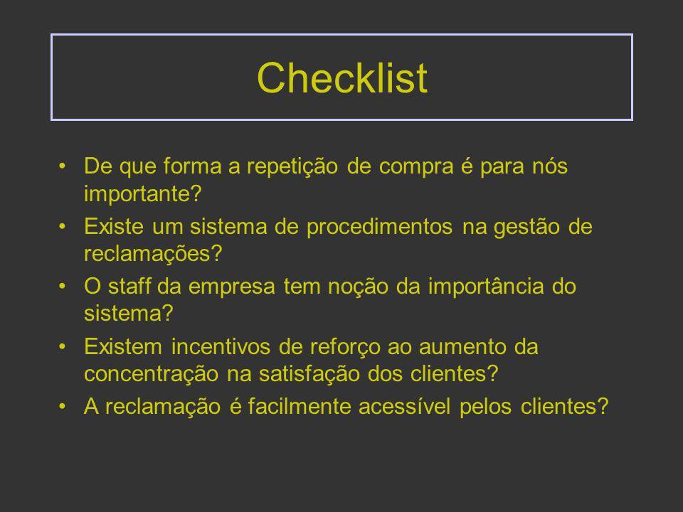 Checklist (cont) O sistema está organizado de modo a que : Os funcionários da linha da frente possuam a amplitude de decisão e responsabilidade para resolverem reclamações.