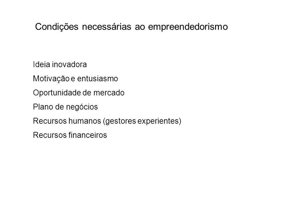 Condições necessárias ao empreendedorismo Ideia inovadora Motivação e entusiasmo Oportunidade de mercado Plano de negócios Recursos humanos (gestores experientes) Recursos financeiros