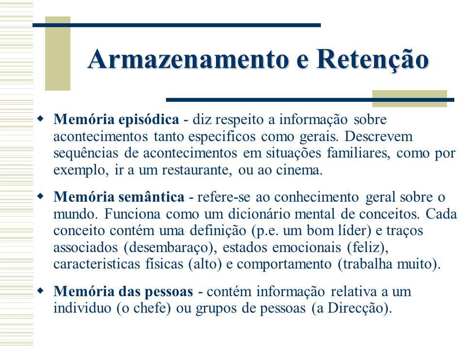 Armazenamento e Retenção Memória episódica - diz respeito a informação sobre acontecimentos tanto especificos como gerais. Descrevem sequências de aco