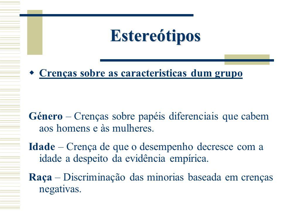 Estereótipos Crenças sobre as caracteristicas dum grupo Género – Crenças sobre papéis diferenciais que cabem aos homens e às mulheres. Idade – Crença