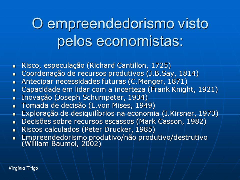 O empreendedorismo visto pelos economistas: Risco, especulação (Richard Cantillon, 1725) Risco, especulação (Richard Cantillon, 1725) Coordenação de r