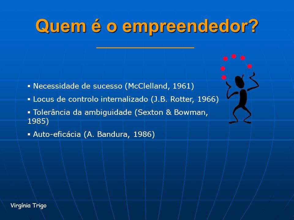 Quem é o empreendedor? Virgínia Trigo Necessidade de sucesso (McClelland, 1961) Locus de controlo internalizado (J.B. Rotter, 1966) Tolerância da ambi