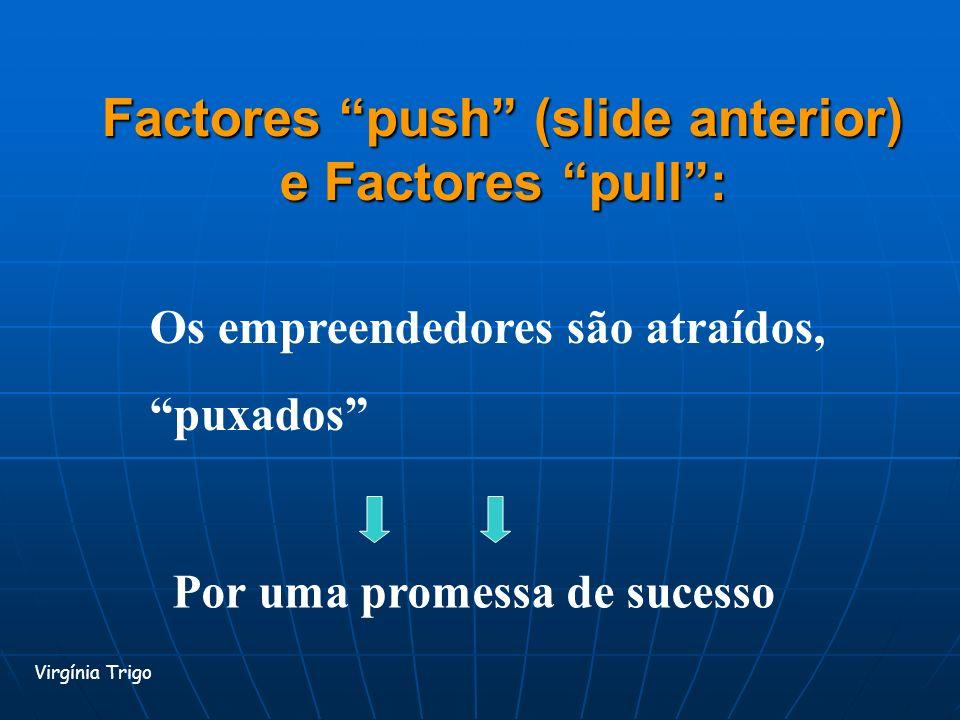 Factores push (slide anterior) e Factores pull: Virgínia Trigo Os empreendedores são atraídos, puxados Por uma promessa de sucesso