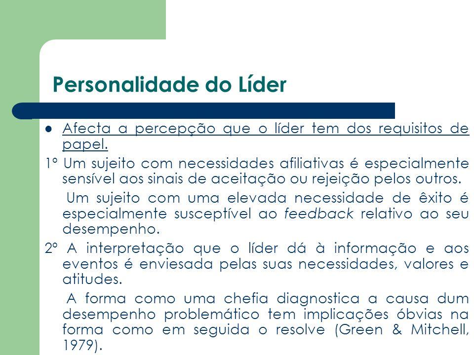 Personalidade do Líder Afecta a percepção que o líder tem dos requisitos de papel. 1º Um sujeito com necessidades afiliativas é especialmente sensível