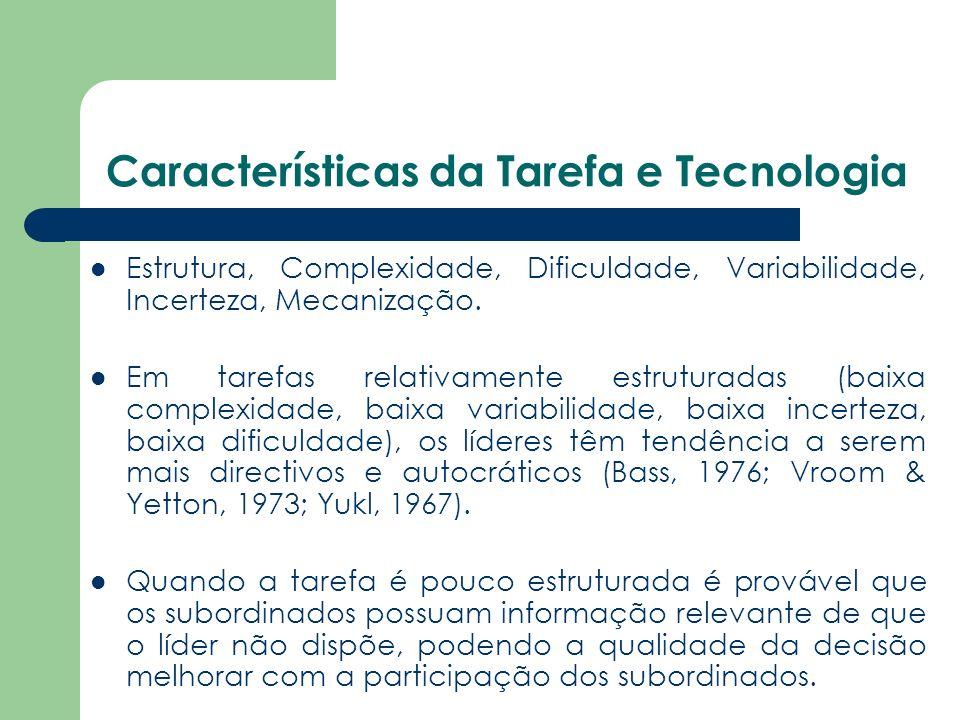 Características da Tarefa e Tecnologia Estrutura, Complexidade, Dificuldade, Variabilidade, Incerteza, Mecanização. Em tarefas relativamente estrutura