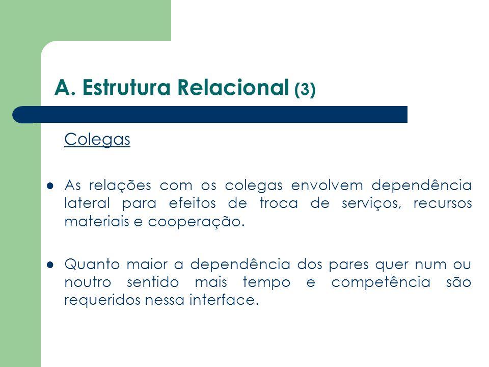 A. Estrutura Relacional (3) Colegas As relações com os colegas envolvem dependência lateral para efeitos de troca de serviços, recursos materiais e co