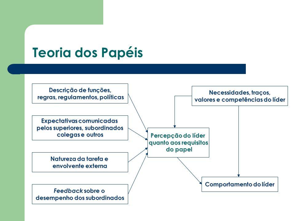 Teoria dos Papéis Descrição de funções, regras, regulamentos, políticas regras, regulamentos, políticas Natureza da tarefa e envolvente externa Expect