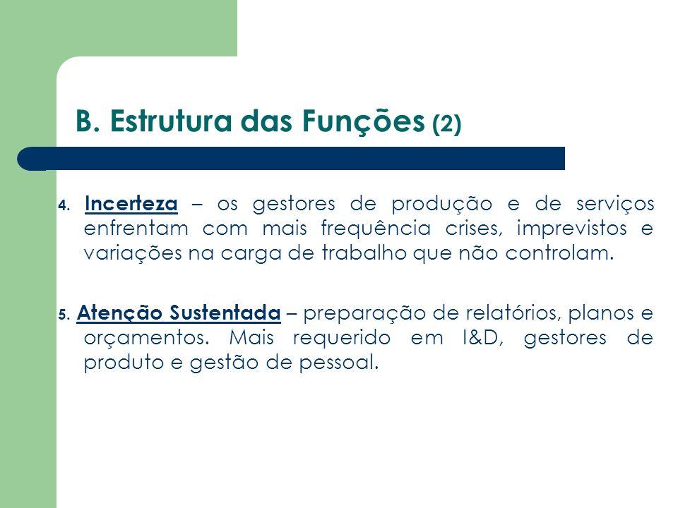 B. Estrutura das Funções (2) 4. Incerteza – os gestores de produção e de serviços enfrentam com mais frequência crises, imprevistos e variações na car