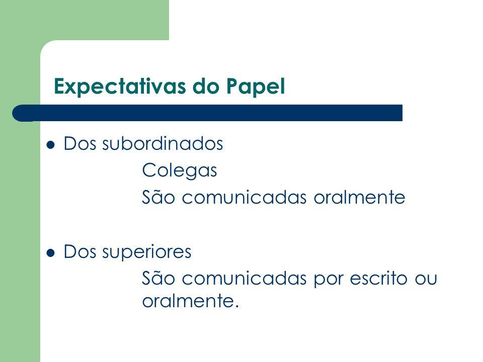 Expectativas do Papel Dos subordinados Colegas São comunicadas oralmente Dos superiores São comunicadas por escrito ou oralmente.