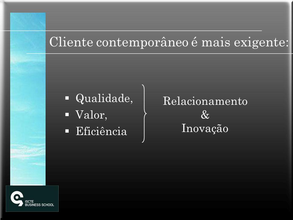 Cliente contemporâneo é mais exigente: Qualidade, Valor, Eficiência Relacionamento & Inovação