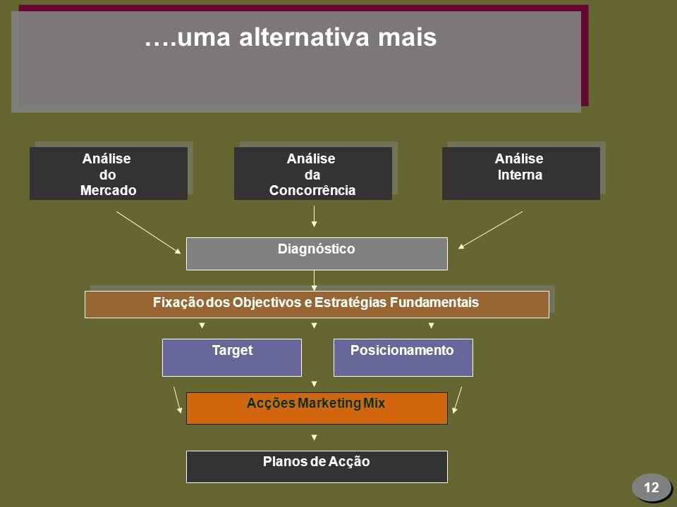 12 ….uma alternativa mais Análise do Mercado Análise do Mercado Diagnóstico Fixação dos Objectivos e Estratégias Fundamentais Target Análise da Concor