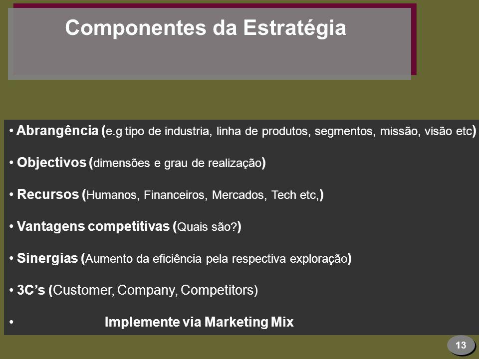 13 Componentes da Estratégia Abrangência ( e.g tipo de industria, linha de produtos, segmentos, missão, visão etc ) Objectivos ( dimensões e grau de r