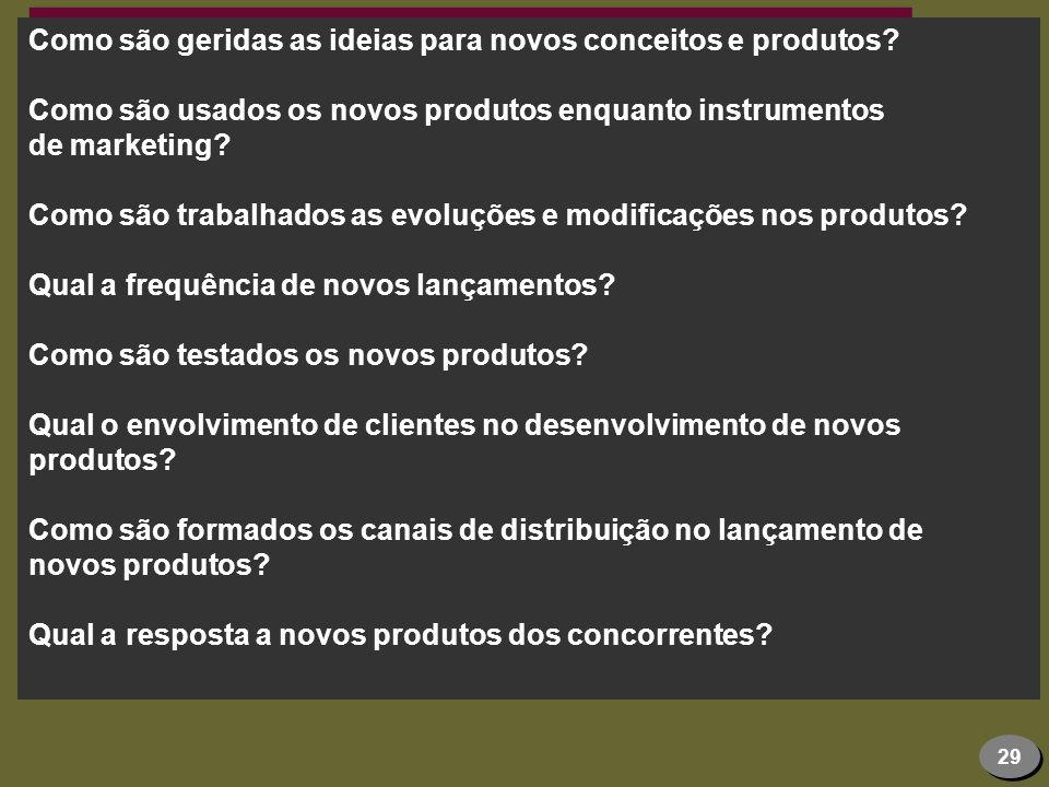29 Como são geridas as ideias para novos conceitos e produtos? Como são usados os novos produtos enquanto instrumentos de marketing? Como são trabalha