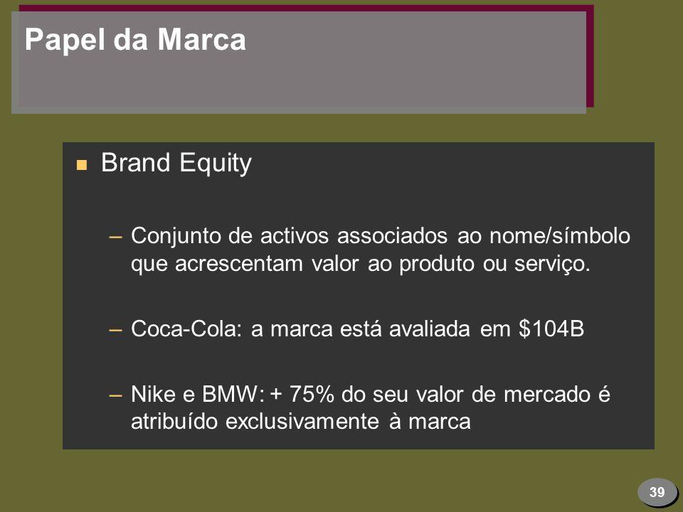 39 Papel da Marca n Brand Equity –Conjunto de activos associados ao nome/símbolo que acrescentam valor ao produto ou serviço. –Coca-Cola: a marca está