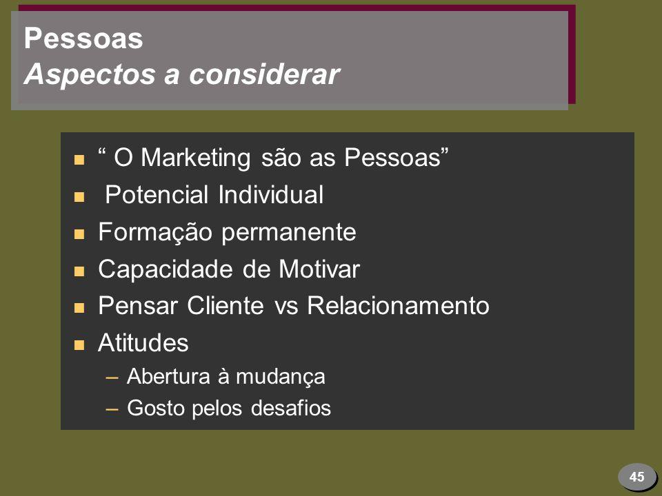 45 Pessoas Aspectos a considerar n O Marketing são as Pessoas n Potencial Individual n Formação permanente n Capacidade de Motivar n Pensar Cliente vs