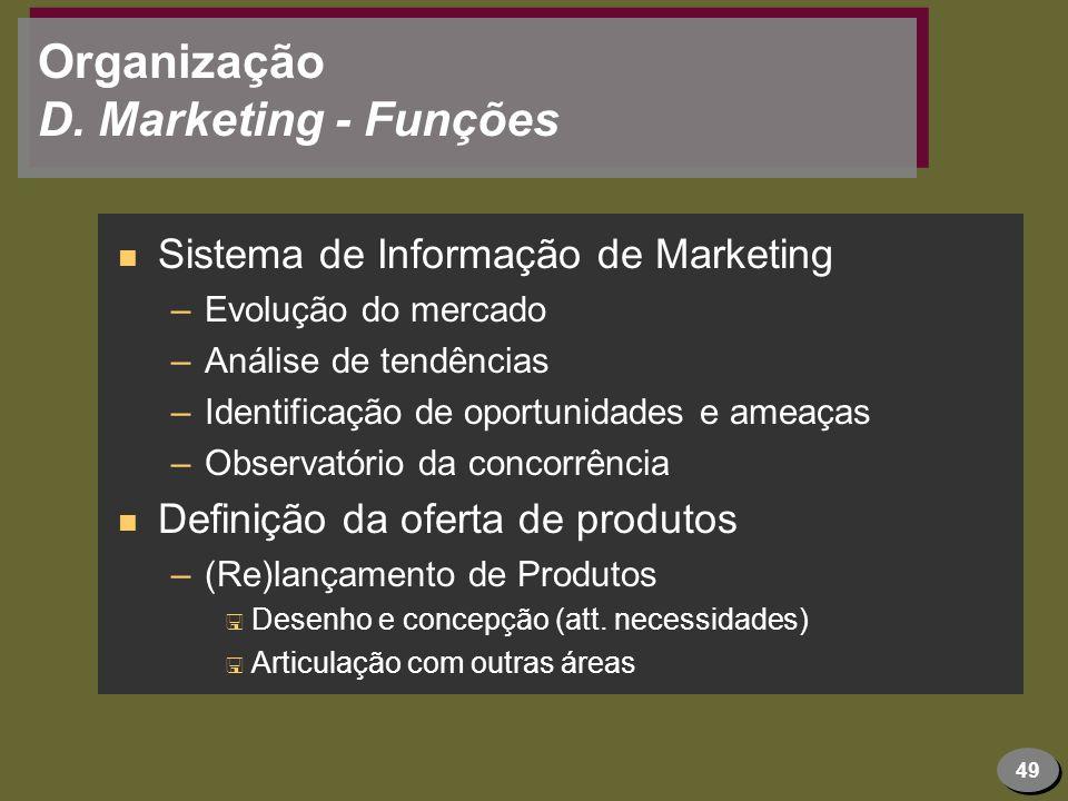 49 Organização D. Marketing - Funções n Sistema de Informação de Marketing –Evolução do mercado –Análise de tendências –Identificação de oportunidades