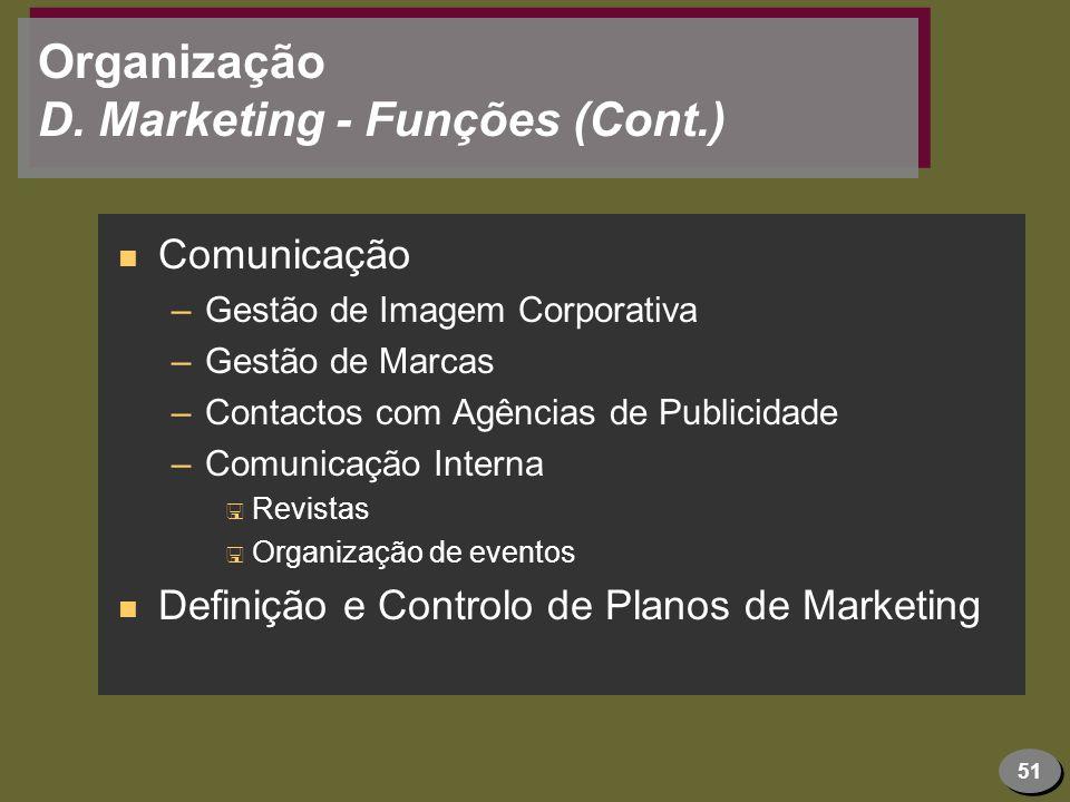 51 Organização D. Marketing - Funções (Cont.) n Comunicação –Gestão de Imagem Corporativa –Gestão de Marcas –Contactos com Agências de Publicidade –Co