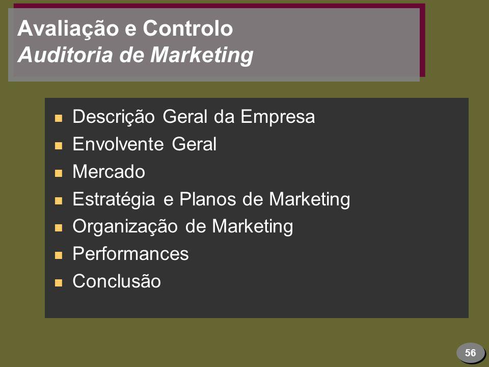 56 Avaliação e Controlo Auditoria de Marketing n Descrição Geral da Empresa n Envolvente Geral n Mercado n Estratégia e Planos de Marketing n Organiza