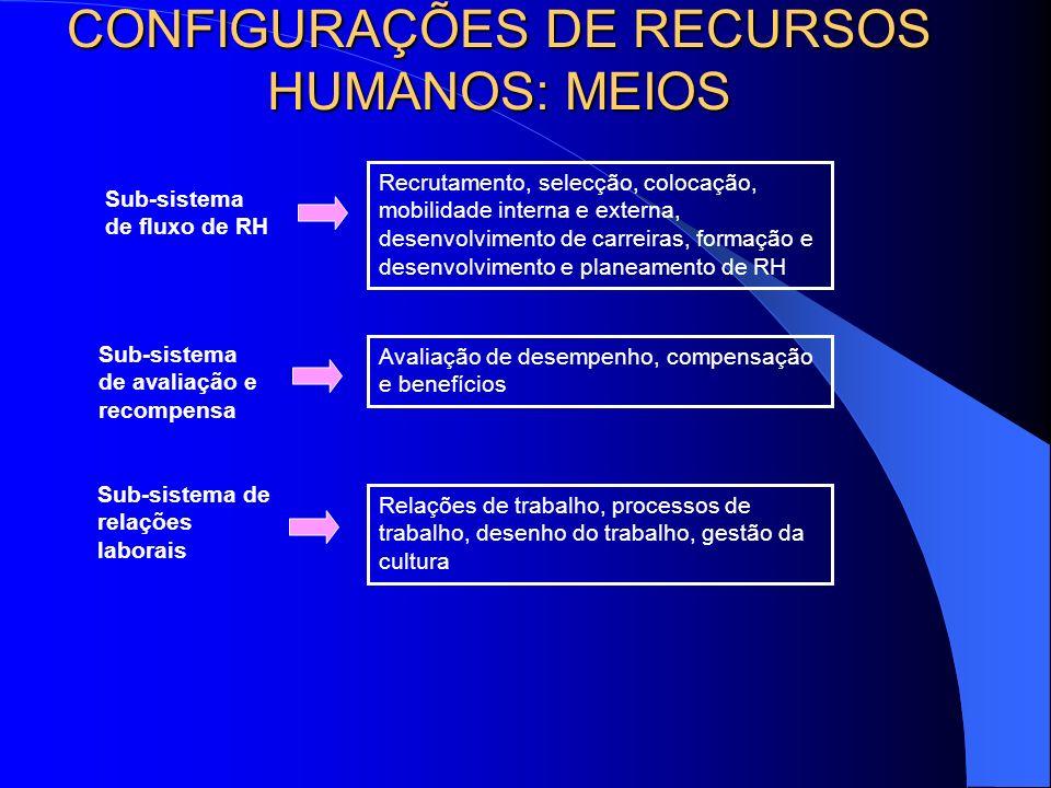 Tipologia das Estratégias dominantes HR: Fins (2) Competência AltaMuito altaAdequada Commitment Alto envolvimento afectivo com a oraganização Baixo; a