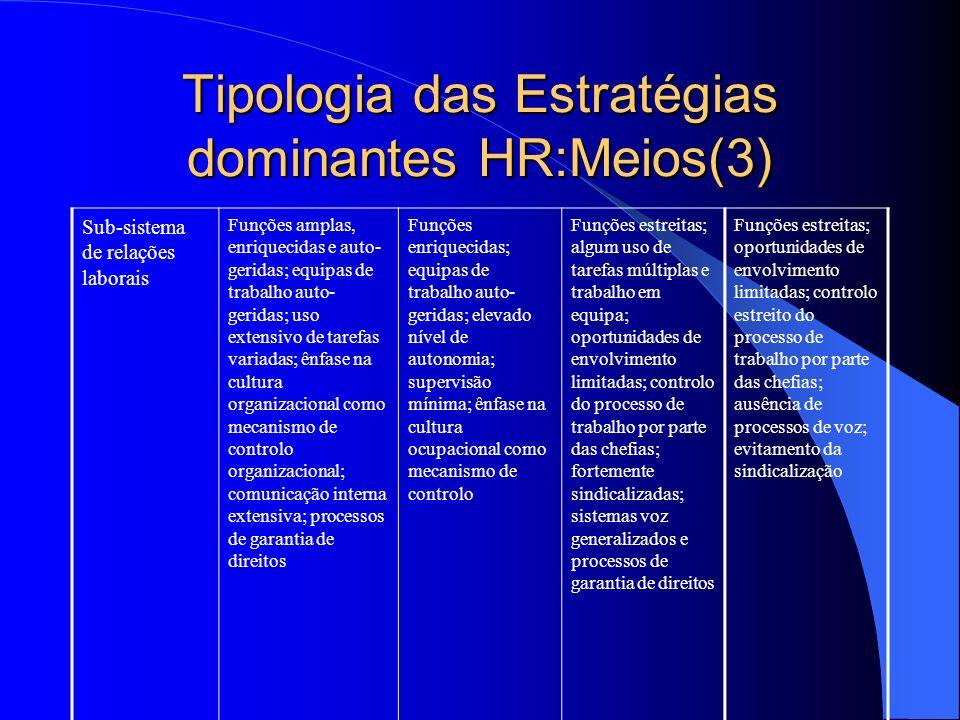 Tipologia das Estratégias dominantes HR:Meios(2) Sub-sistema avaliação e recompensa Ênfase na equidade interna; recompensas baseadas no desempenho aos