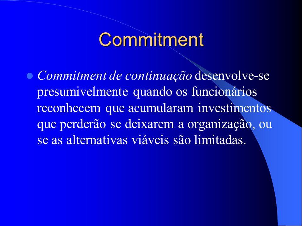 Commitment Funcionários com experiências organizacionais consistentes com as suas expectativas e cujas organizações lhes permitem satisfazer as suas n