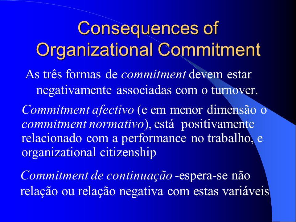 Commitment Commitment normativo desenvolve-se como o resultado da socialização das experiências que criam no trabalhador uma obrigação de reciprocidad
