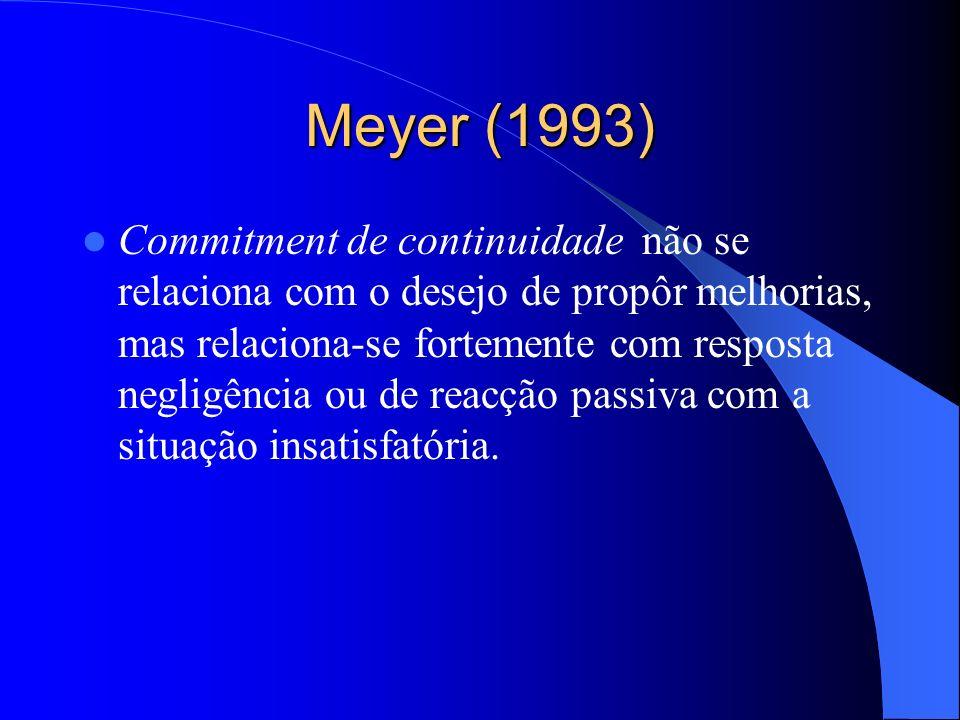 Meyer (1993) Commitment afectivo positivamente correlaccionado com o desejo de sugerir improvements (voice) e aceitar as coisas como estão (loyalty) e