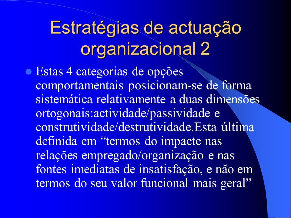 Estratégias de actuação organizacional Quatro padrões comportamentais de reacção à insatisfação no trabalho: saída (externa) voz- comportamentos activ
