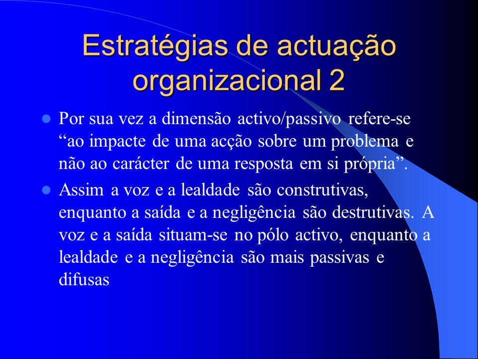 Estratégias de actuação organizacional 2 Estas 4 categorias de opções comportamentais posicionam-se de forma sistemática relativamente a duas dimensõe