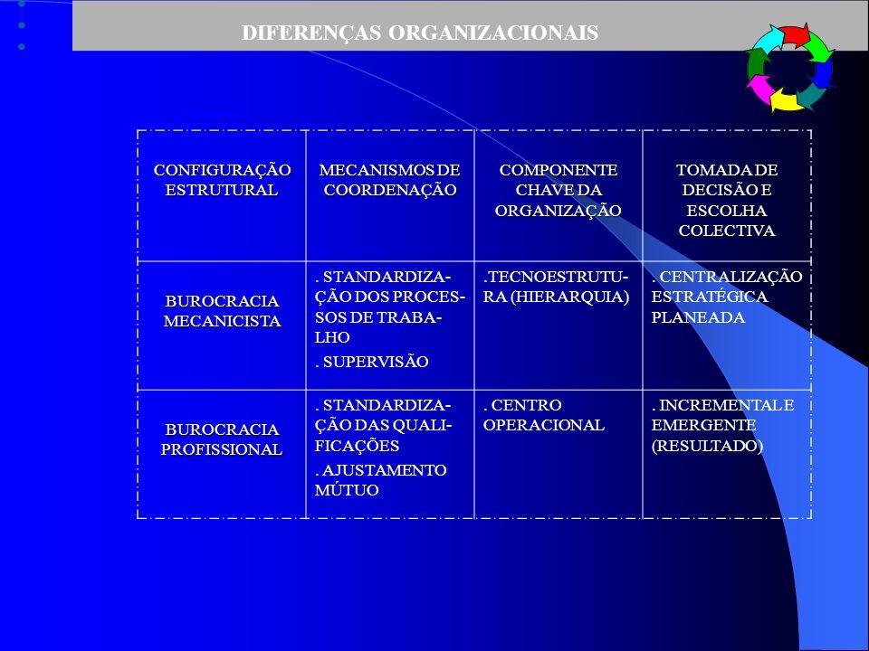 DIFERENÇAS ORGANIZACIONAIS CONFIGURAÇÃO ESTRUTURAL MECANISMOS DE COORDENAÇÃO COMPONENTE CHAVE DA ORGANIZAÇÃO TOMADA DE DECISÃO E ESCOLHA COLECTIVA BUROCRACIA MECANICISTA.