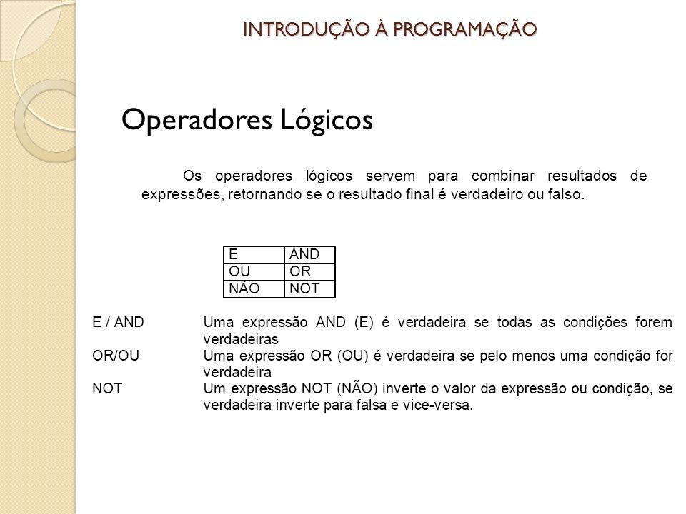 INTRODUÇÃO À PROGRAMAÇÃO Operadores Lógicos Os operadores lógicos servem para combinar resultados de expressões, retornando se o resultado final é verdadeiro ou falso.