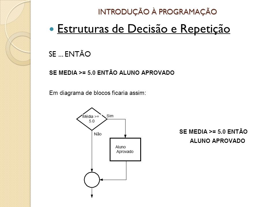 INTRODUÇÃO À PROGRAMAÇÃO Estruturas de Decisão e Repetição SE... ENTÃO