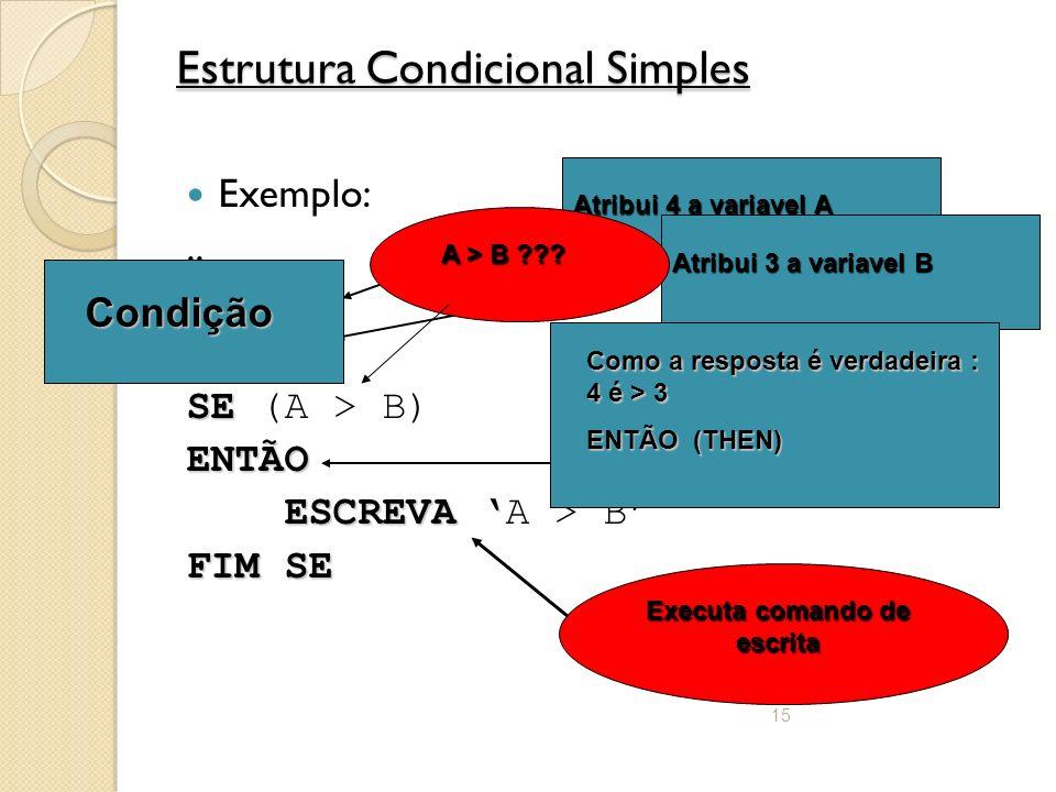 15 Estrutura Condicional Simples Exemplo:..