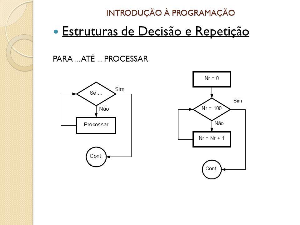 INTRODUÇÃO À PROGRAMAÇÃO Estruturas de Decisão e Repetição PARA... ATÉ... PROCESSAR