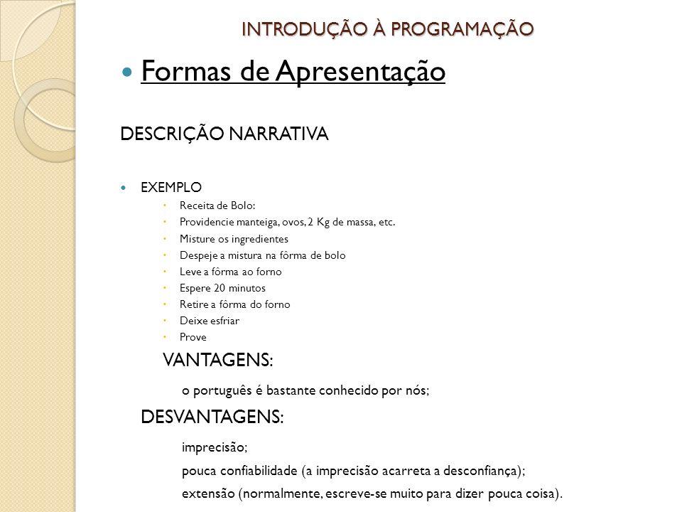 INTRODUÇÃO À PROGRAMAÇÃO Formas de Apresentação DESCRIÇÃO NARRATIVA EXEMPLO Receita de Bolo: Providencie manteiga, ovos, 2 Kg de massa, etc.