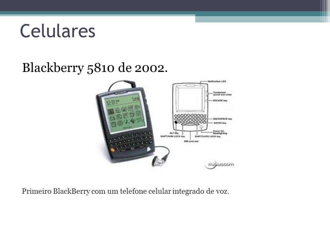 Celulares Blackberry 5810 de 2002. Primeiro BlackBerry com um telefone celular integrado de voz.