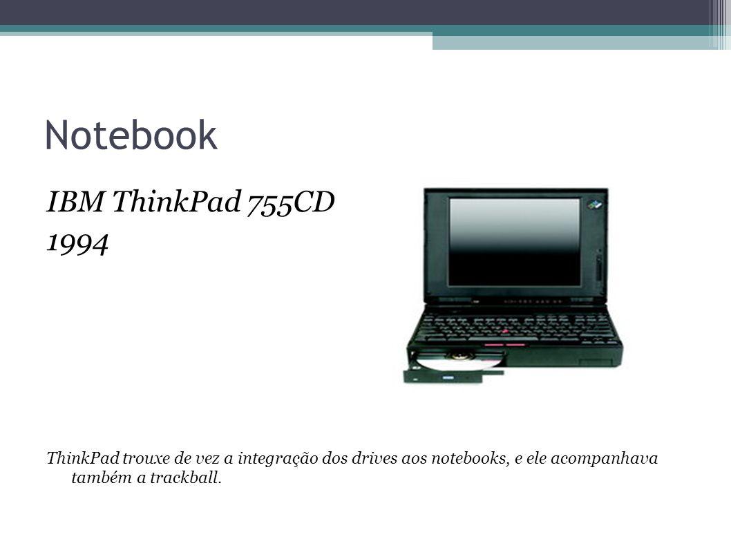 Notebook IBM ThinkPad 755CD 1994 ThinkPad trouxe de vez a integração dos drives aos notebooks, e ele acompanhava também a trackball.