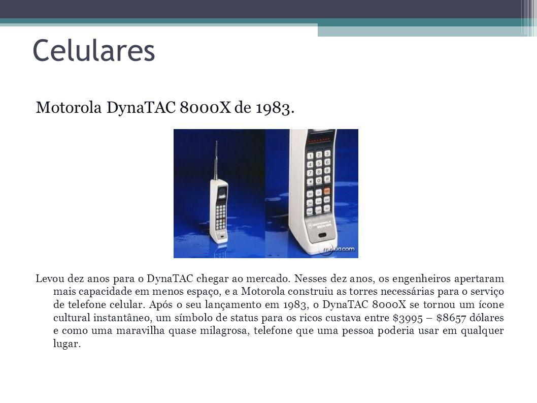 Celulares Motorola DynaTAC 8000X de 1983. Levou dez anos para o DynaTAC chegar ao mercado. Nesses dez anos, os engenheiros apertaram mais capacidade e