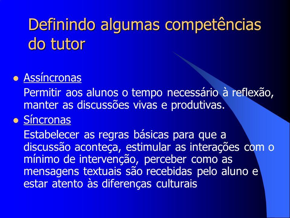 Definindo algumas competências do tutor Assíncronas Permitir aos alunos o tempo necessário à reflexão, manter as discussões vivas e produtivas. Síncro