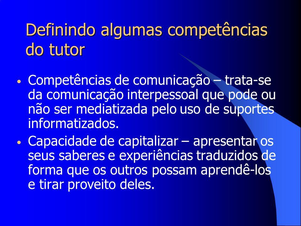 Definindo algumas competências do tutor Belloni (2001) fala de um novo papel do professor na educação a distância, o de constituir-se em um parceiro dos estudantes no processo de construção de conhecimento, isto é, em atividades de pesquisa e na busca da inovação pedagógica.