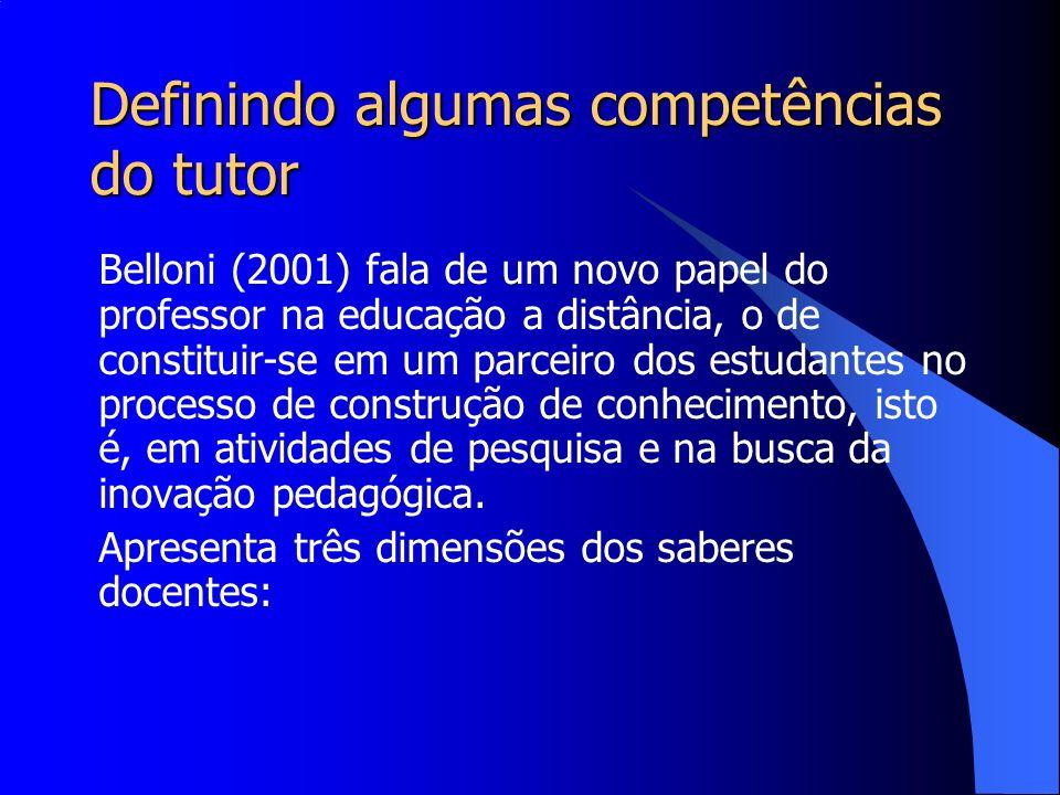 Definindo algumas competências do tutor Belloni (2001) fala de um novo papel do professor na educação a distância, o de constituir-se em um parceiro d