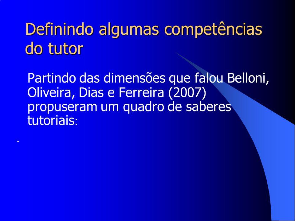Definindo algumas competências do tutor Partindo das dimensões que falou Belloni, Oliveira, Dias e Ferreira (2007) propuseram um quadro de saberes tut