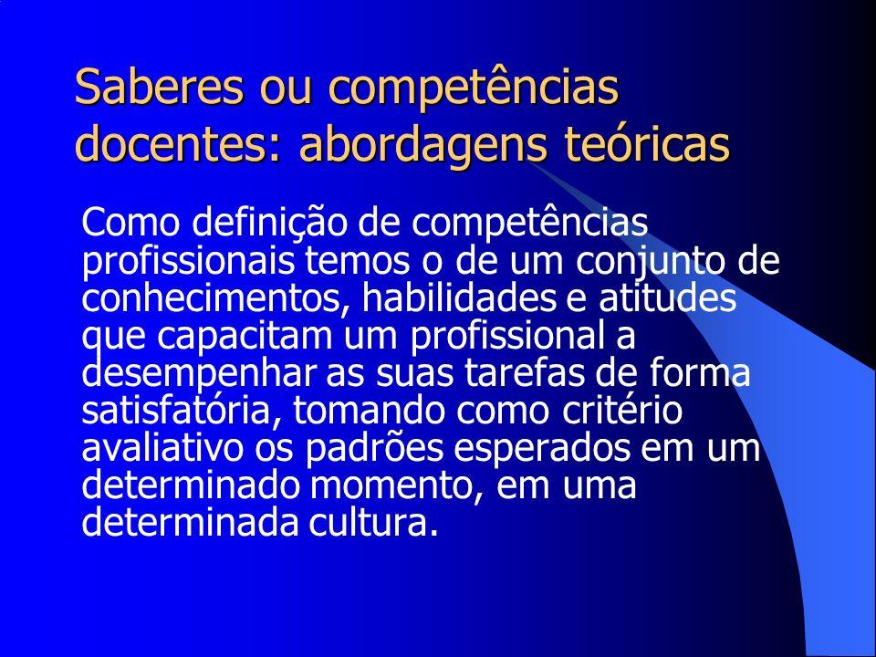 Saberes ou competências docentes: abordagens teóricas Como definição de competências profissionais temos o de um conjunto de conhecimentos, habilidade