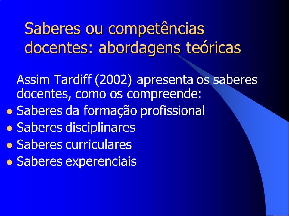 Saberes ou competências docentes: abordagens teóricas Assim Tardiff (2002) apresenta os saberes docentes, como os compreende: Saberes da formação prof
