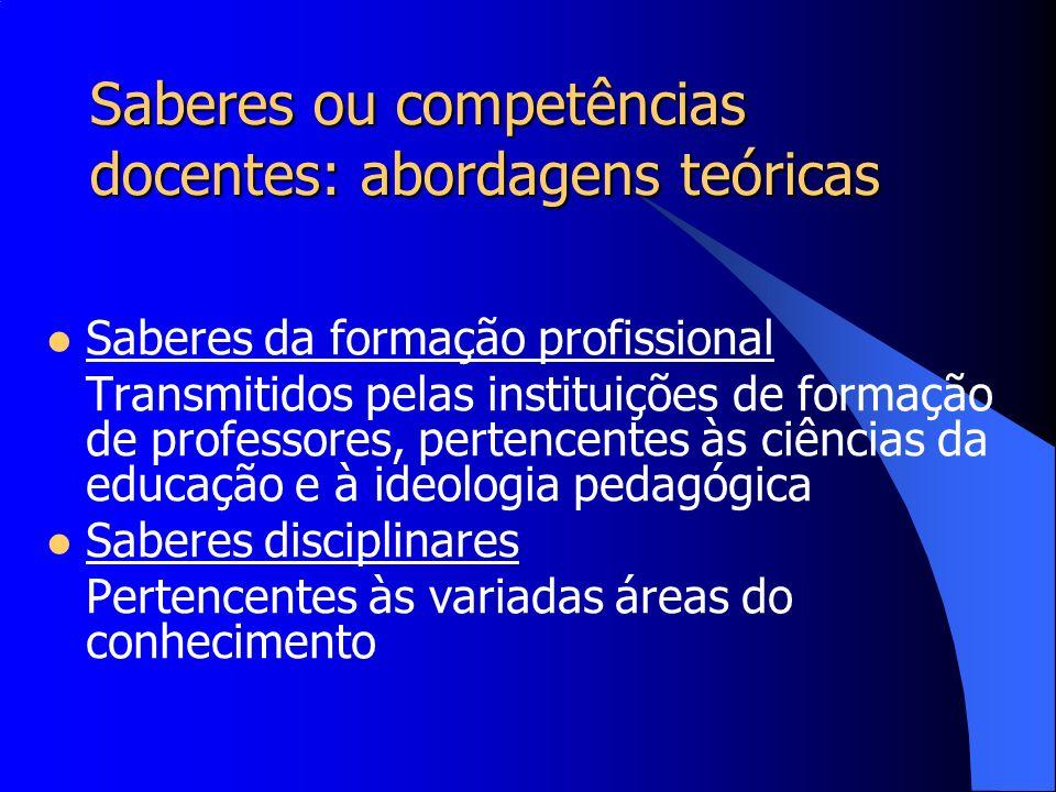 Saberes ou competências docentes: abordagens teóricas Saberes da formação profissional Transmitidos pelas instituições de formação de professores, per