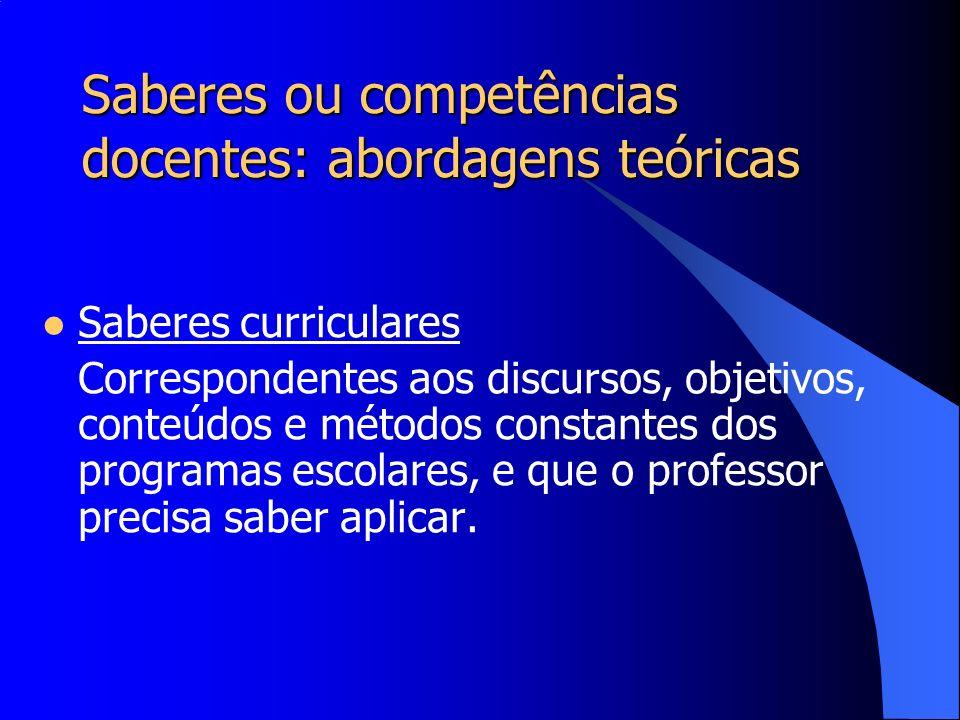Saberes ou competências docentes: abordagens teóricas Saberes experienciais Desenvolvidos pelos professores na sua própria prática, no exercício de suas funções.
