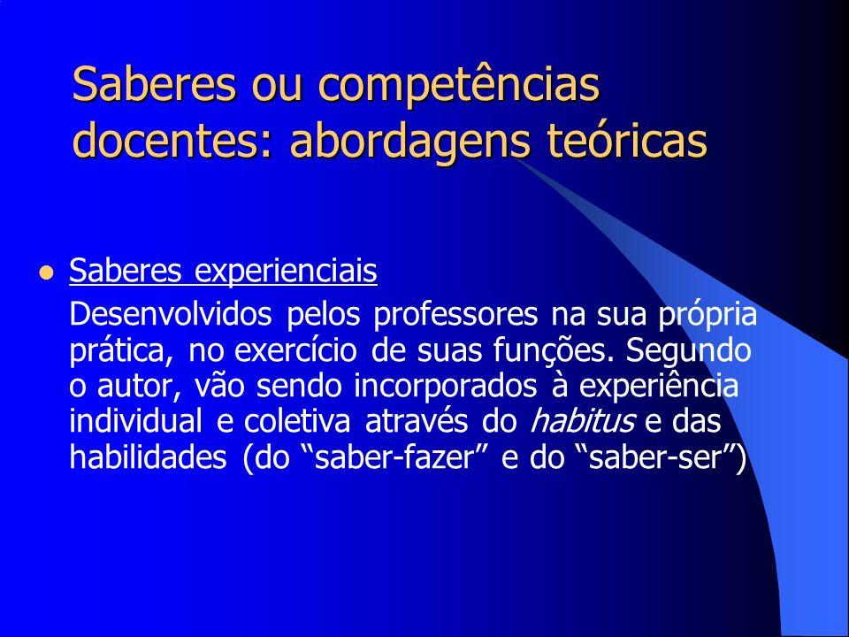 Saberes ou competências docentes: abordagens teóricas Saberes experienciais Desenvolvidos pelos professores na sua própria prática, no exercício de su