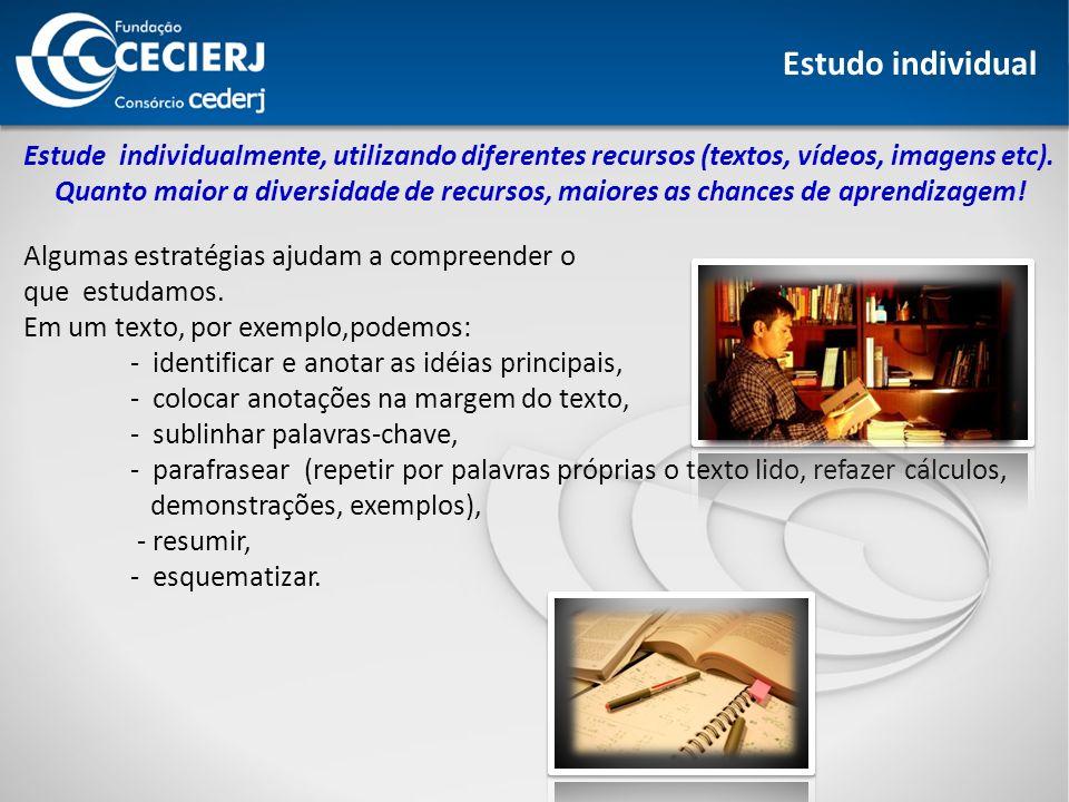 Estude individualmente, utilizando diferentes recursos (textos, vídeos, imagens etc).