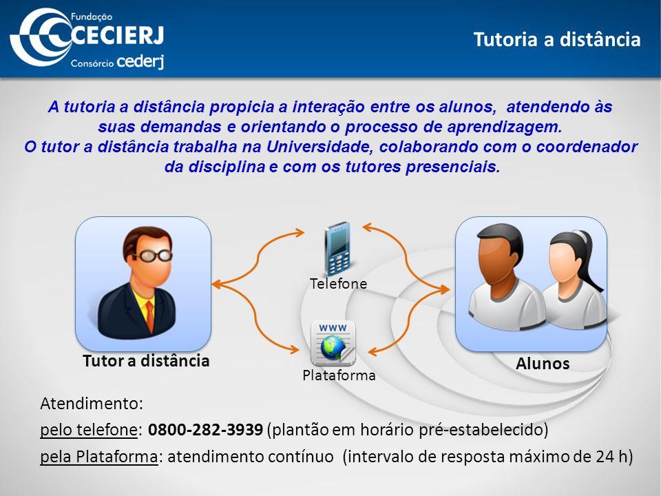 Tutoria a distância Tutor a distância Alunos Telefone Plataforma A tutoria a distância propicia a interação entre os alunos, atendendo às suas demandas e orientando o processo de aprendizagem.